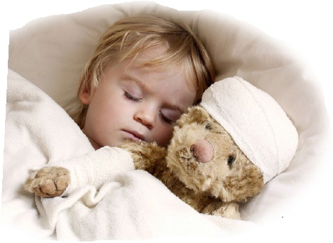 Baby with Sick Teddy Bear